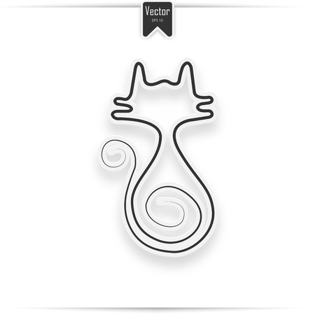 cat icon with shadow. realistic design element cat  イラスト・ベクター素材