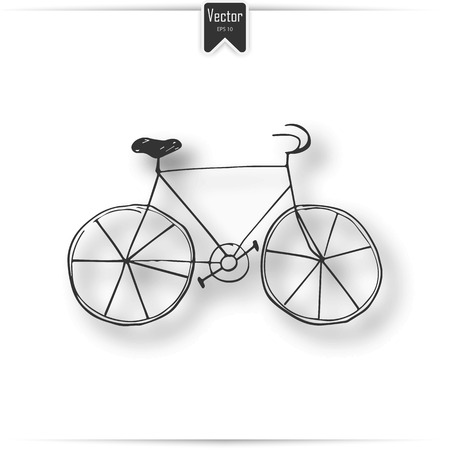 Hand drawn vintage icon with bicycle vector illustration. One Line Drawing or Continuous Line Art of a Bicycle Athlete