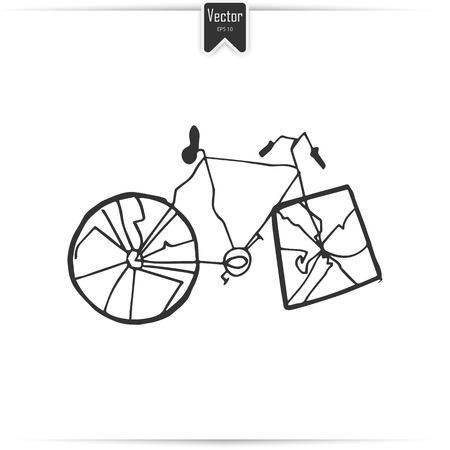 Broken Bicycle. Vector image. Bicycle with square wheels