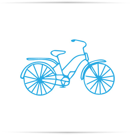 Kid doodle of bicycle with isolated on white background. Children draw a bicycle with a felt-tip pen.  illustration. 写真素材