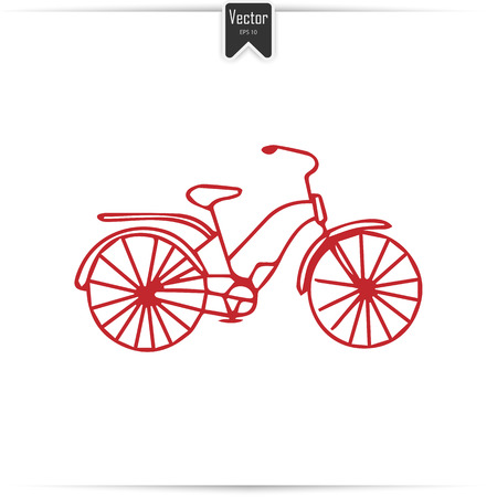 Kid doodle of bicycle with isolated on white background. Children draw a bicycle with a felt-tip pen. Vector illustration.