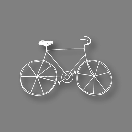 white chalk bicycle icon on black board background.