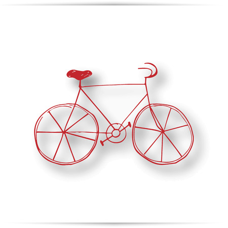 Vintage road bicycle hand drawn illustration. Red pencil. isolated on white background