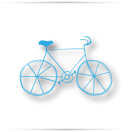 Vintage road bicycle hand drawn illustration. blue pencil. isolated on white background