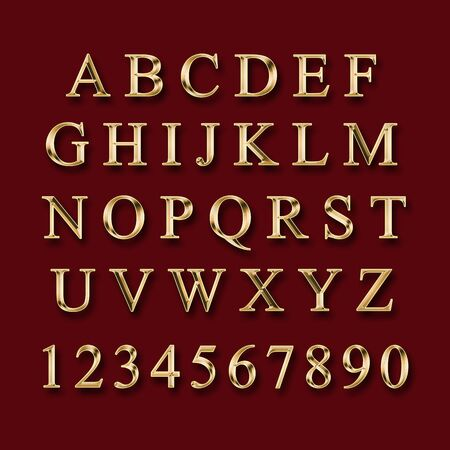 Gold alphabet with numbers on a red  background Stock fotó