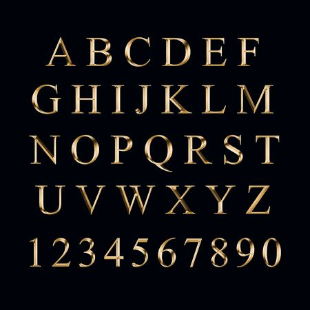 Gold alphabet with numbers on a black background Stock fotó