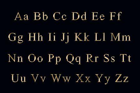 golden alphabet  on a black background