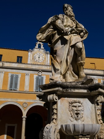 PISA, ITALY - JUNE 16, 2012: The statue of Moses in the inner courtyard of the Archbishops Palace, Palazzo dellArcivescovado on June 16, 2012 in Pisa, Italy.