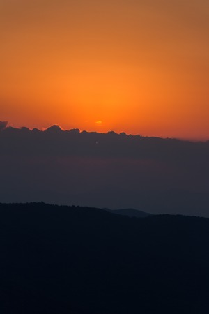 The last sunlight over a Bulgarian mountain