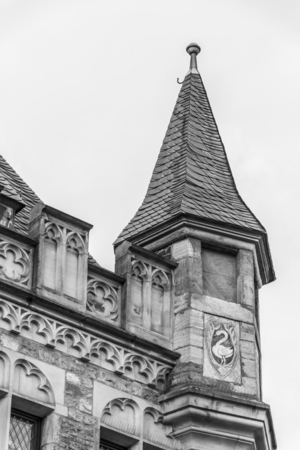 Architectural detail from the former Imperial City of Aachen, Germany, black and white photography Imagens - 99800900