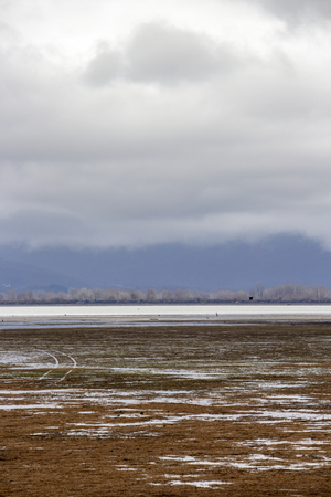 Low water level February landscape at Lake Kerkini, Greece with car traces against low clouds and a mountain range in the background Stock Photo