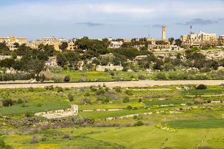 Panoramic springtime view of Mtarfa from Mdina, Malta Stok Fotoğraf - 105817008