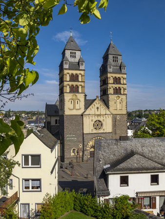September view to Herz-Jesu Church or Church of the Sacred Heart of Jesus in Mayen, Germany Stock Photo