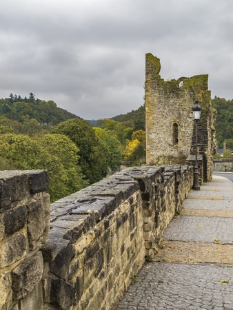 Hollow Tooth on the Bock rock- the remains of a tower of one of the fortress gates in Luxembourg City, Grand Duchy of Luxembourg on a rainy October day Reklamní fotografie