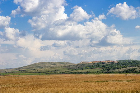 Picturesque view to Dragoman natural karst Wetland in Sofia Province, Bulgaria - the biggest Bulgarian natural karst wetland with covered with clouds beautiful sky