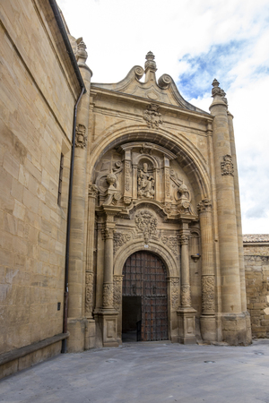 Baroque facade of the demolished Church of San Pedro, Church of St. Peter in Viana, Navarre Spain on the Way of St. James, Camino de Santiago Stock Photo