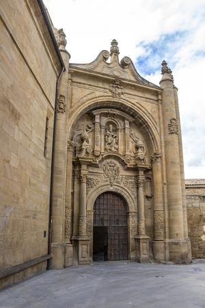 Baroque facade of the demolished Church of San Pedro, Church of St. Peter in Viana, Navarre Spain on the Way of St. James, Camino de Santiago Фото со стока