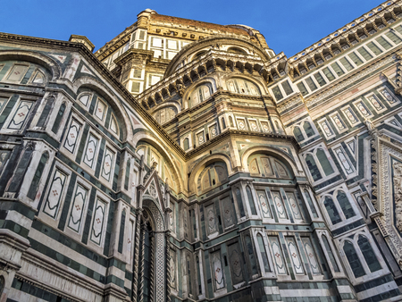 Florence Cathedral of Santa Maria del Fiore, Saint Mary of the Flower, partial exterior view, in Florence, Italy Stock Photo