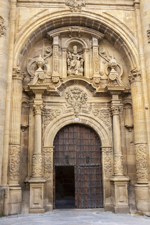 Baroque portal of the demolished Church of San Pedro, Church of St. Peter in Viana, Navarre Spain on the Way of St. James, Camino de Santiago Stock Photo