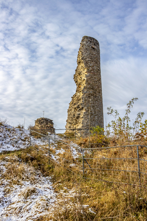 Kronenburg Castle old ruins in winter, at Kronenburg, North Rhine-Westphalia, Germany Stock Photo