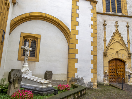 Beautiful entrance of St. Gangolf Church in Trier - the second oldest church building in the oldest town of Germany Stok Fotoğraf