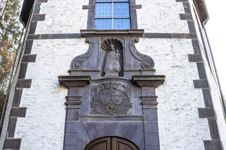 Loreto Chapel entrance or Chapel of Our Lady of Loreto at Clervaux or Klierf, Luxembourg, architectural detail