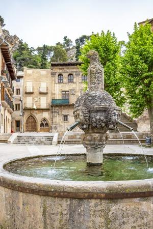Fuente de los Chorros or Los Chorros fountain in St. Martin's Square in Estella or Lizzara in Navarre, Spain on the Way of St. James, Camino de Santiago