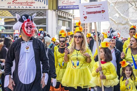 XANTHI, GREECE - MARCH 10, 2019: A group of dressed carnival parade participants