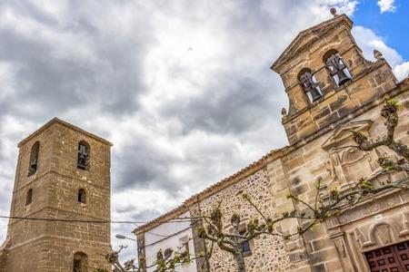 Hermitage of Santa Maria del Campo and Parish Church of San Pedro in Castildelgado, Burgos, Castilla y Leon, Spain on the Way of St. James, Camino de Santiago, details Stock Photo