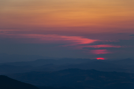 Summer sunset view from Kopitoto Hill, Vitosha Mountain, Sofia, Bulgaria