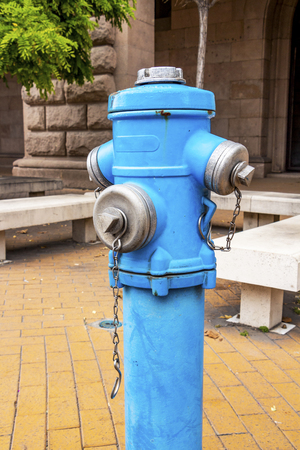 A blue fire hydrant at downtown Sofia, Bulgaria
