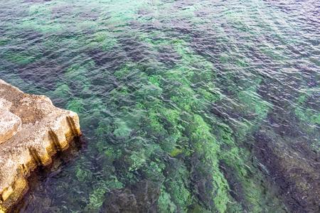 Limestone coastline construction and Mediterranean Sea cyan water at Sliema, Malta