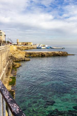 Beautiful Sliema coastline view with Mediterranean Sea cyan water at Sliema, Malta