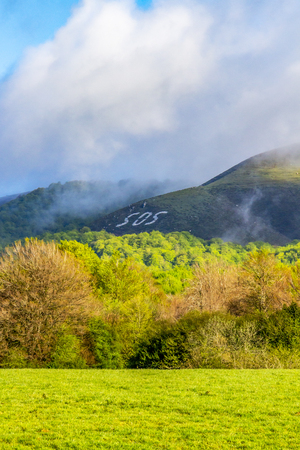 SOS on a hill on the Way of St. James, Camino de Santiago, route Burguete-Auritz - Aurizberri-Espinal, Navarre, Spain