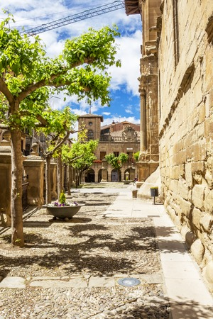 Sunny Viana streetscape with the Church of Santa Maria and the town hall at Plaza de los Fueros in the background in Navarre, Spain on the Way of St. James