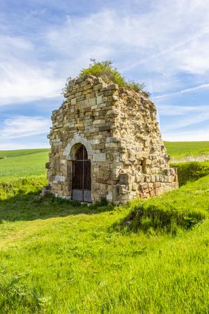 Monasterio de San Felices de Oca, Monastery of San Felices de Oca ruins, Province of Burgos, Castilla y Leon, Spain on the Way of St. James, Camino de Santiago Stock Photo