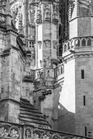 Burgos Cathedral or Cathedral of Saint Mary of Burgos exterior detail, Province of Burgos, Castilla y Leon, Spain on the Way of St. James, Camino de Santiago, black and white photography
