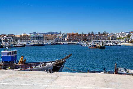 TARIFA, SPAIN - MAY 27, 2019: View of Port of Tarifa with fishing boats