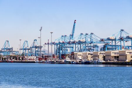 ALGECIRAS, SPAIN - MAY 27, 2019: Port facilities at Port of Algeciras, one of the largest ports in Europe and the world, Province of Cadiz, Andalusia