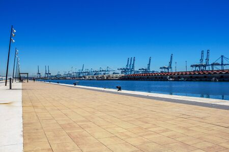 ALGECIRAS, SPAIN - MAY 27, 2019: Mooring bollards and port facilities at Port of Algeciras, one of the largest ports in Europe and the world, Province of Cadiz, Andalusia