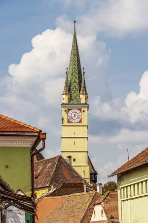 St. Margaret's Church bell tower at Medias, Sibiu County, Transylvania, Romania