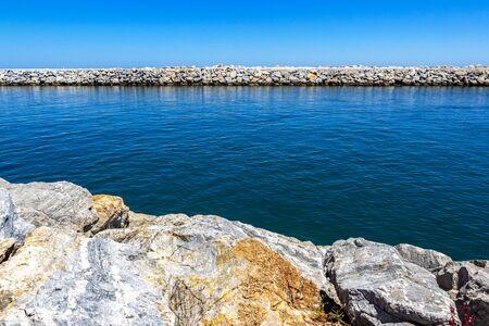 View of Puerto Banus breakwater at Nueva Andalucia, Marbella, Province of Malaga, Andalusia Spain 版權商用圖片