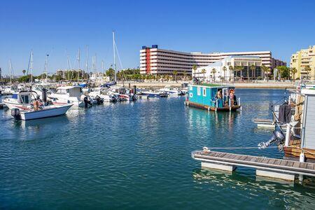 LA LINEA DE LA CONCEPTION, SPAIN - MAY 26, 2019: A houseboat of The Homeboat Company at Alcaidesa Marina, Andalusia, Spain