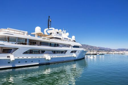 PUERTO BANUS, SPAIN - MAY 26, 2019: Luxury yacht at Puerto Banus, Nueva Andalucia, Marbella, Province of Malaga, Andalusia Spain Editöryel