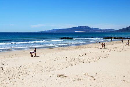 TARIFA, SPAIN - MAY 27, 2019: Playa de los Lances or Los Lances Beach, Province of Cadiz, Andalusia, Spain