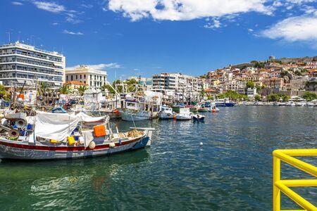 KAVALA, GREECE - JULY 20, 2018: Fishing boats at the Port of Kavala, Eastern Macedonia, Northern Greece