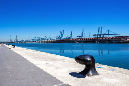 ALGECIRAS, SPAIN - MAY 27, 2019: Mooring bollards and port facilities at the Port of Algeciras, one of the largest ports in Europe and the world, Province of Cadiz, Andalusia