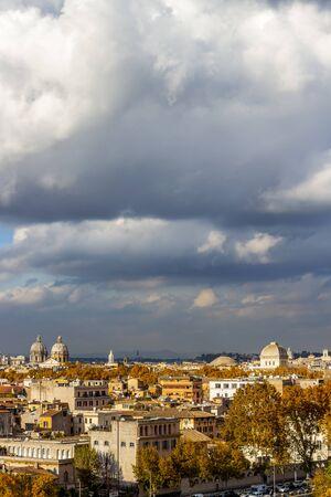 Rome, Italy city view from the Orange Trees Garden or Savello Park under overcast November sky
