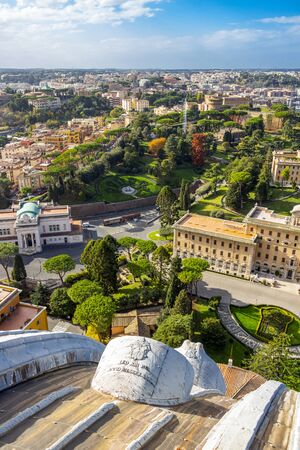 Elevated view of the Vatican City State from the dome of the Papal Basilica of St. Peter Фото со стока