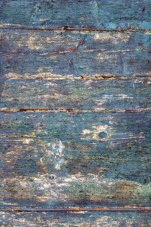 Old wooden weathered blue painted surface background